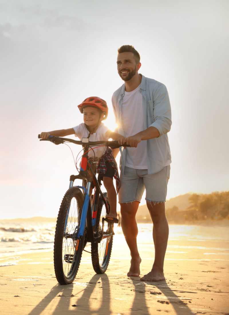 Man and Son on the Beach